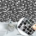 VANCORE Mosaic Tile Stickers Green Square Tiles Decor Wall Art Sticker Decal Kitchen Bathroom Living Room Home Decorative 10PCS/SET (20cmx20cm/7.87x7.87)