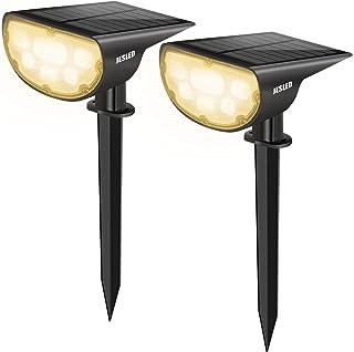 JESLED Solar Landscape Spot Lights, Warm White, Outdoor 14 LED Spotlight Dusk to Dawn, IP67 Waterproof Solar Powered 2-in-...