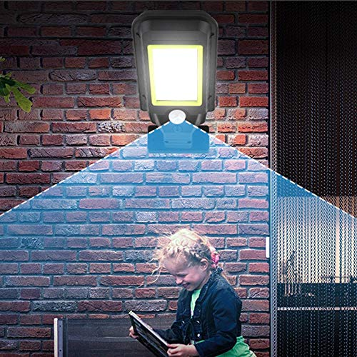 AdoDecor 72LED Solar Motion Sensor Wall Light Outdoor Security Street Lamp Remote Control Waterproof Garden Street Lamp