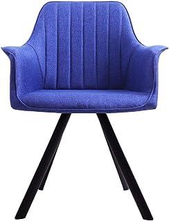 Nordic Silla de comedor, Sillas de comedor de tela con respaldo Apoyabrazos y robusta patas de metal Sillas de cocina para comer al sitio de la oficina de la sala,Dark blue