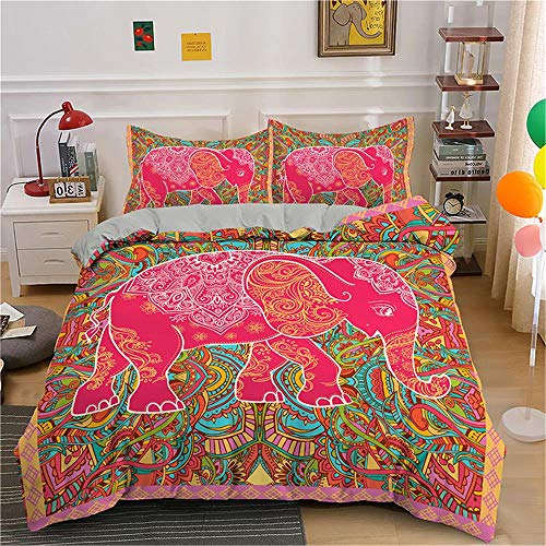 MENGBB 3D Cot Duvet Cover and Pillowcase Set Red animal elephant art 260x220cm Total 4 Size, give away pillowcase, 3D Bedding Set - Quilt Cover with Zipper Closure + Pillowcases, Microfiber Duvet Cove