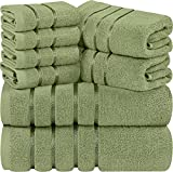 Utopia Towels Sage Green 8-Piece Bath Linen Sets - Viscose Stripe Towels - 600 GSM Ring Spun Cotton - Highly Absorbent Luxury Towel Set (Pack of 8)