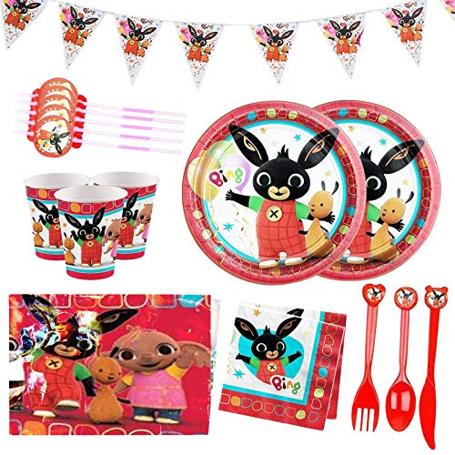 Yisscen 82 pezzi festa di compleanno per bambini, set di decorazioni di compleanno, accessori per feste di compleanno a tema cartoni animati con striscioni, piatti, tazze, tovaglie, per 10 bambini