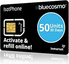BlueCosmo IsatPhone 50 Unit Global Satellite Phone Prepaid Service SIM Card for Inmarsat IsatPhone Pro and IsatPhone 2-30 Day Expiry - No Activation Fees - Voice - SMS Text Messaging