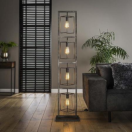 famlights Saskia Lampadaire rectangulaire en métal argenté 4 x E27 Design industriel élégant pour salon, chambre à coucher Lampe design moderne Lampe sur pied rétro