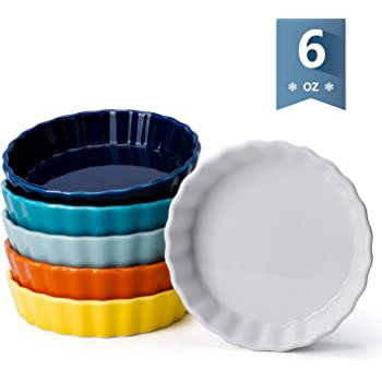 Sweese 5109 Porcelain Ramekins Oval Shape Cold Assorted Color 4.7 x 3.2 x 1 Inch Set of 6 4 Ounce for Creme Brulee