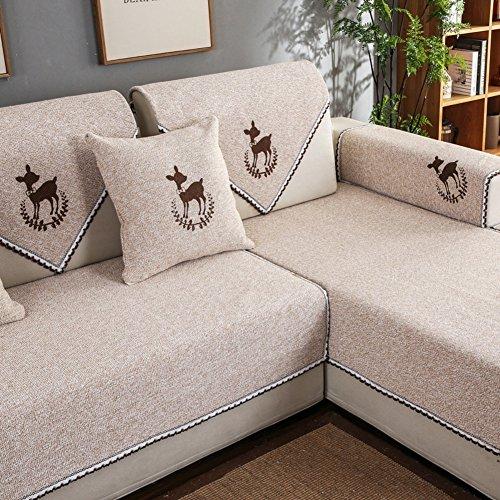 QTQHOME Algodón Lino Color Sólido Cubre Sofá para,Anti-Slip Todos-Incluso Funda De Sofá Simple Universal De Cuatro Estaciones Totodosa De Sofá-e 90x70cm(35x28inch)