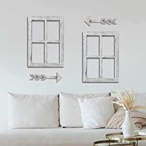 Viforu Farmhouse Wall Decor Window Frame with Arrow, Rustic Home Decor, Wooden Window Pane & Arrows Home Decor 2 Pack,Arrow Wall Decor,Farmhouse Wall Décor Bedroom,Living Room Decor (2 Set ,White)