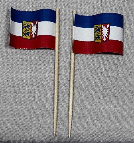 Buddel-Bini Party-Picker Flagge Schleswig Holstein Papierfähnchen in Spitzenqualität 50 Stück Beutel