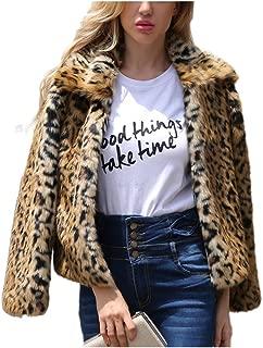 Dawwoti Women's Faux Fur Short Coat Thick Long Sleeve Fuzzy Chunky Cardigan Tops for Winter New Year