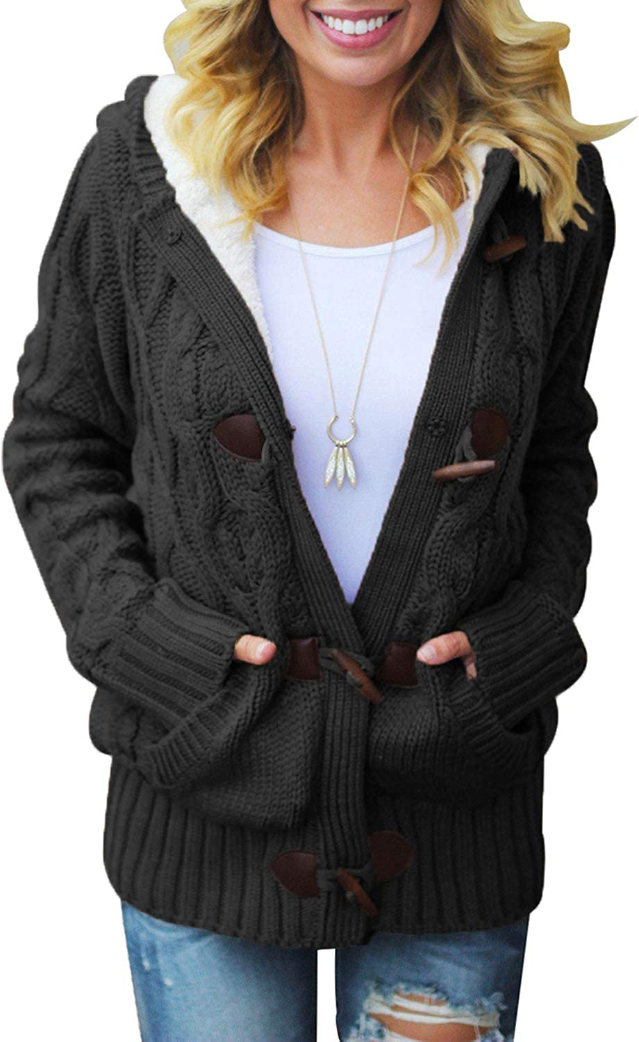 Aleumdr Womens Hooded Cardigans Casual Long Sleeve Button Up Cable Knit Sweater Coat Outwear with Pockets S-XXL