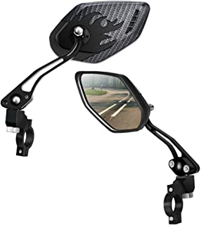 LX LERMX Bike Mirrors [Upgraded Version] Two PCS HD,Blast-Resistant, Glass Lens Bar End Mountain Bicycle Mirror Adjustable Bike Glass Mirror Rotatable Safe Rearview