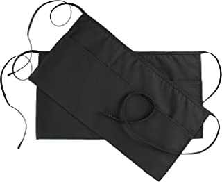 Utopia Wear 2 Pack 3 Pockets Waitress Apron, Waist Aprons for Home and Kitchen, 24 x 12 Inches, Black