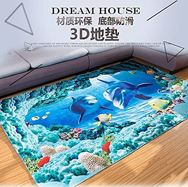 Blue Sea Theme Dolphin 3D Ocean Dolphin Fishes Pattern Blue Bathroom Floor Carpet Flannel Carpet Water And Skid Resistant Kids Home Decoration