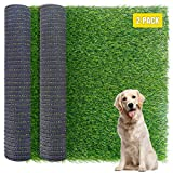 FUNARTY 2pcs Dog Grass Pee Pads 16 in x 23 in Artificial Puppy Potty Training Grass Systems Replacement Synthetic Turf Mats Indoor Outdoor