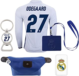 #27 Odegaard Real Madrid C.F. Home Long Sleeve Soccer Jersey Combo 2016-17