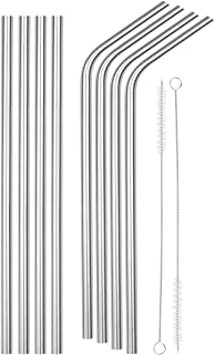 SipWell Bent/Straight Wide Stainless Steel Drinking Straws, 8-Pack – BPA Free & Dishwasher Safe Straws w/Cleaning Brush - For Kitchen & Dining Use - Perfect for Smoothies & Cold Beverages
