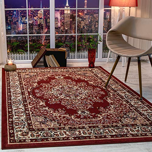 Antep Rugs Siesta Collection Traditional Oriental Polypropylene Indoor Area Rug (Maroon/Beige, 5' x 7')