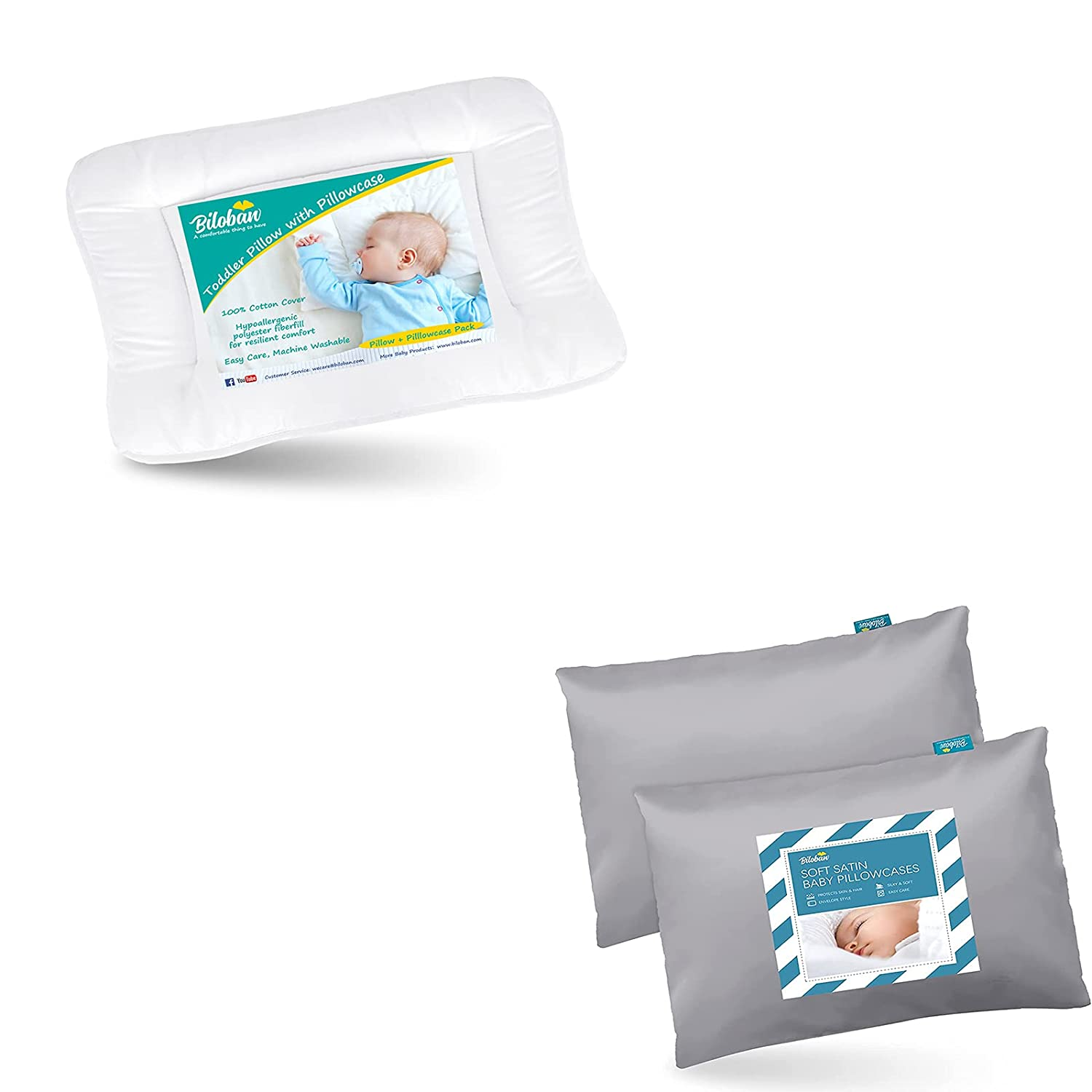Baby Toddler Pillow for Raleigh Mall Sleeping White with Satin Gre Soft Outlet ☆ Free Shipping Ultra