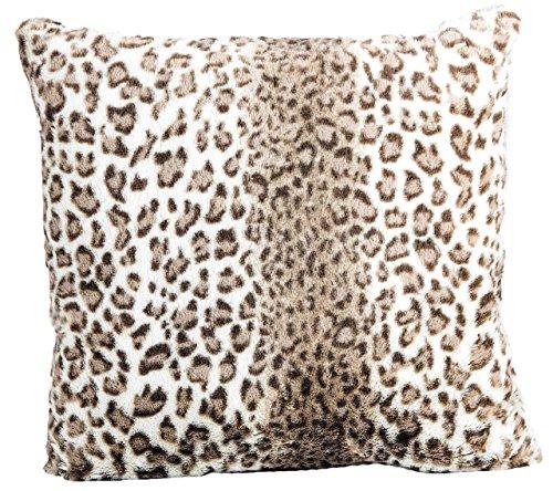 Nielsen Kissenbezug Lana Leopard, 50x50 cm, Natural (braun/beige), extra flauschig und weich, Kuschelkissen, Dekokissen, Fellkissen, modernes Zierkissen, Sofakissen, dekorativ und elegant