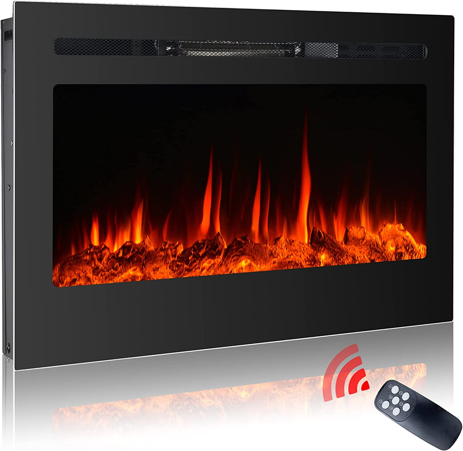 Homajor Daily Luxury goods bargain sale 36 inch Recessed and Ins Wall Fireplace Electric Mounted