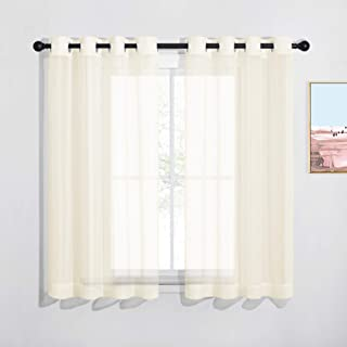 Best NICETOWN Sheer Curtains for Kitchen - Solid Window Treatment Voile Panels for Bedroom (One Pair, W54 x L63, Cream Beige) Review