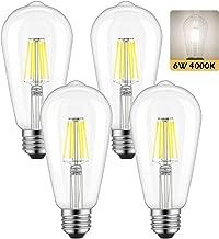 Dimmable Edison LED Bulb, Daylight White 4000K, Kohree 6W Vintage LED Filament Light Bulb, 60W Equivalent, E26 Base Lamp for Restaurant,Home,Reading Room, 4 Pack(Daylight White, NOT Soft/Warm White)