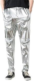 CRYYU Men's Hip Hop Multi Pockets Metallic Casual Pants Trousers Jogger Pants