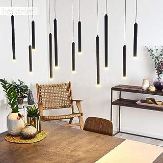 Suspension LED Porquera en métal noir, élégant luminaire composé de 11 tubes LED à intensité variable par interrupteur on/...