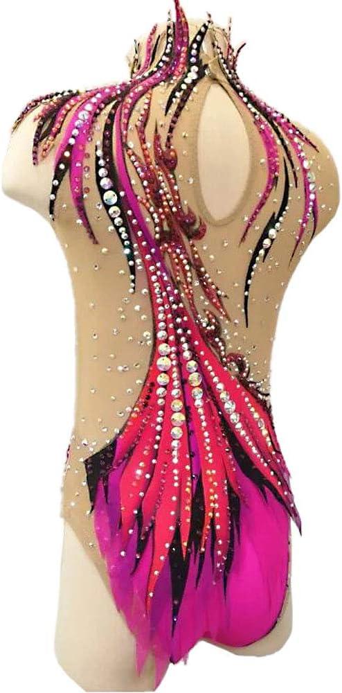 Kmgjc Ginnastica Ritmica Body per Ragazze e Le Donne a Mano di Pattinaggio di Figura Concorso Costume Professionale Fatta di Ordine Maniche Pattinaggio su Ghiaccio Dress
