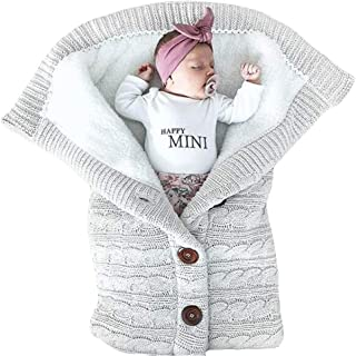 Newborn Winter Warm Sleeping Swaddle- Iuhan Newborn Infant Baby Blanket Knit Crochet Winter Warm Swaddle Wrap Button Sleeping Bag (Gray)
