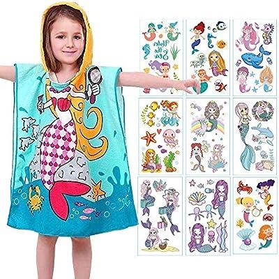 AYUQI Kids Poncho Towel for Bath Beach Swimming Hooded Towel, Kids Soft Cartoon Bathrobe Fast Drying Towel