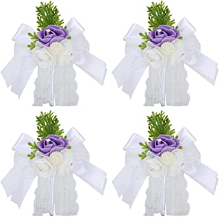 Wedding Accessories, Elegant 4Pcs Corsage, 5.9 x 5.5 in for Attending Dinner Wedding Engagement Dancing(purple)