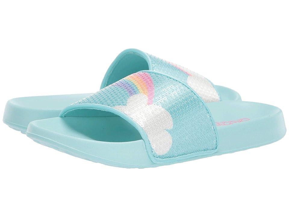 SKECHERS KIDS Sunny Slides (Little Kid/Big Kid) (Light Blue/Multi) Girl