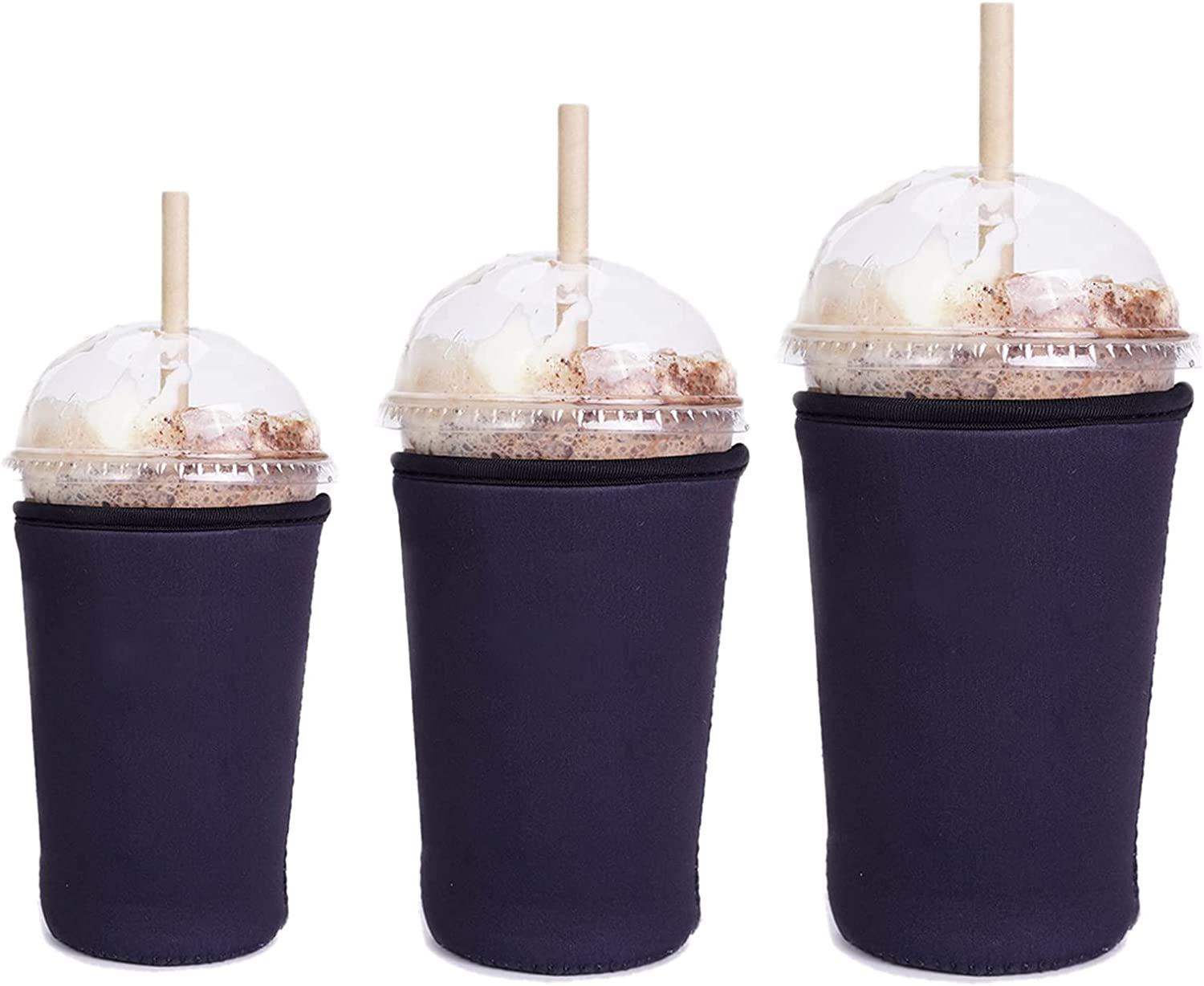 3Pack Sekepingo Iced Coffee Cup Sleeves Reusable Insulated Sleeve for Cold Beverages Drinks, Cup Cover Holder for Starbucks Coffee, Dunkin Donuts,McDonalds,Black(16-22oz S 22-28oz M and 30-32oz L)