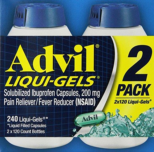 Advil Liqui-Gels (240 Count) Pain Reliever/Fever Reducer Liquid Filled Capsule, 200 mg Ibuprofen, Temporary Pain Relief