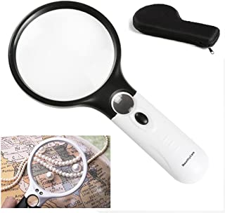 Bigger Magnifying Glass Handheld 3X 30X Magnifier with Light 3LED for Seniors Reading Map, Kids Hobbies, Jewelry Loupe, Watch Repair, Craft, Collection