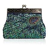 TOYIS clutches - Cartera de mano para mujer Verde azul (pavo real) talla única