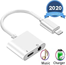 Headphone Adapter for iPhone SE/11/11 pro/11pro Max X/XS/XS MAX/XR/8/ 8Plus/ 7/7 Plus Headset Adaptor Splitter Earphone Connector 2 in 1 Accessories Cables Charge Music Wire Control iOS System.