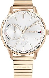 ساعة يد بروك بمينا بيضاء وسوار ستانلس ستيل للنساء من تومي هيلفجر- 1782021