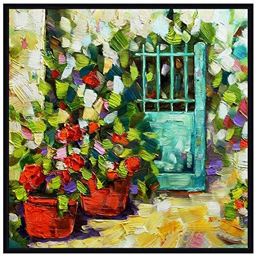 SHYHSCLBD olieverfschilderij op canvas handgeschilderd, abstract huis schilderen, spatel rood bloempot,groene deur, modern popart groot met de hand geschilderd muur kunst afbeelding voor thuis woonkamer restaurant decoratie 110×110 cm/44×44 inch