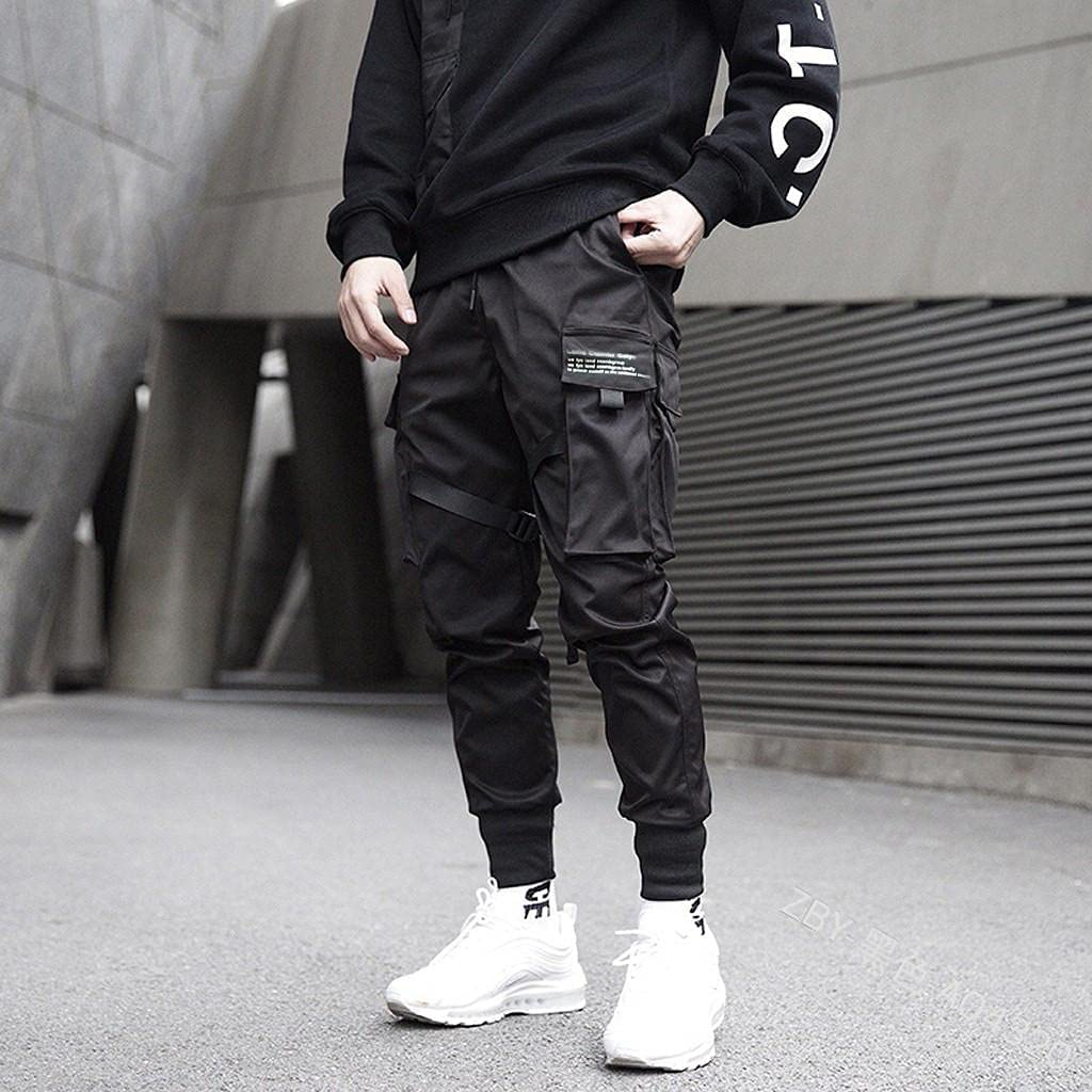 Beshion Men's Pants Slim Fit Stretch Sports Running Jogger Pants with Pockets Solid Color Multi-Pocket Long Pants Trousers