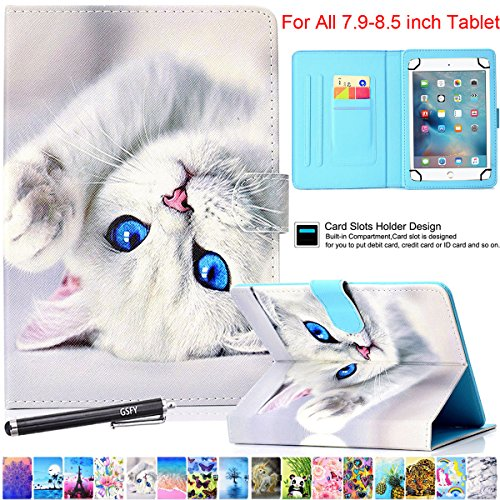 Universal Case for 7.9-8.5 Inch Tablet, Newshine PU Leather Stand Folio Case for iPad Mini 1/2/3/4, Galaxy Tab 3/4/Note 8.0, Amazon Kindle Fire HD/HDX 8.0 and Other 8.0' Models - Blue Eye Cat