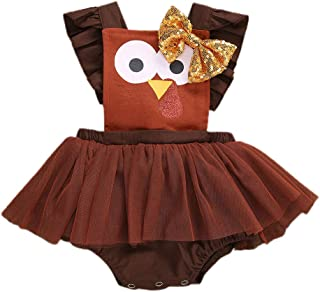 Newborn Baby Girl Thanksgiving Outfit Turkey Romper Dress Halter Bodysuit Jumpsuit Lace Tulle Skirt Thanksgiving Clothes