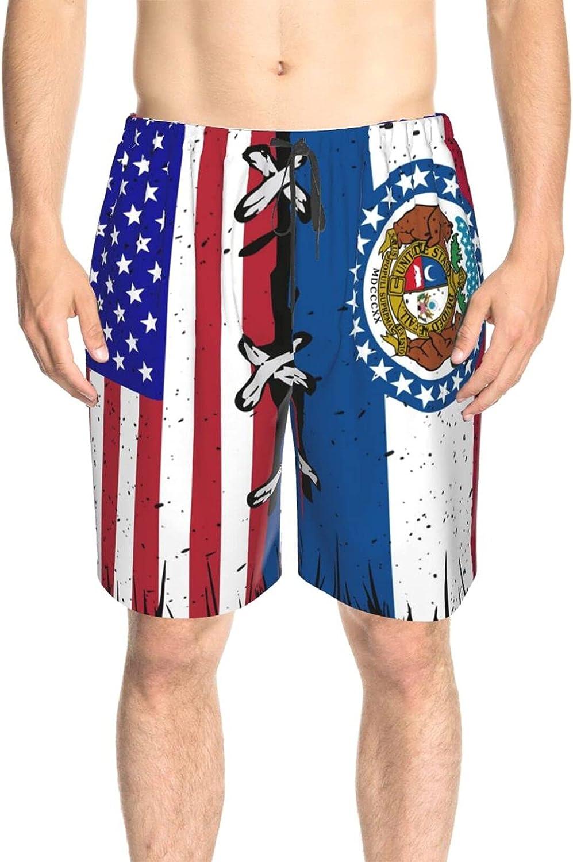 JINJUELS Mens Swim Trunks Missouri American Flag Bathing Suit Boardshorts Drawstring 3D Printed Summer Beach Shorts