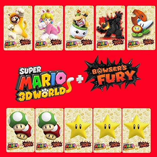 Super Mario 3D World + Bowser's Fury NFC Amiibo, 10 pezzi, motivo: gattini, peach, Bowser Jr & Bowser.