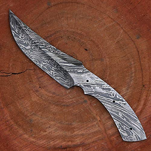 Handmade Damascus Steel Hunting Knife Blank Blade Fire Storm Pattern 9.5 Inches VK2180