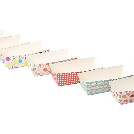 100 Pieces Set Mini Loaf Cake Cases Mini Baking pan Made of Paper Rectangle Paper Baking pan Disposable Mini Cake Pans with Beautiful Appearance and Strong Appearance Random Colors