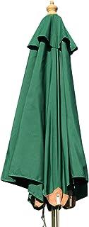 Hardwood Garden Parasol Umbrella - 2M Wide (Dark Green)