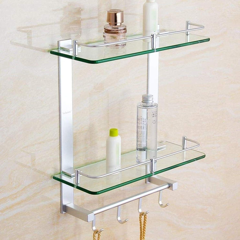 修復盟主例DXX-HR 浴室の棚ガラス棚、浴室の棚、壁、シャワーのマウント、吊り収納棚と2層